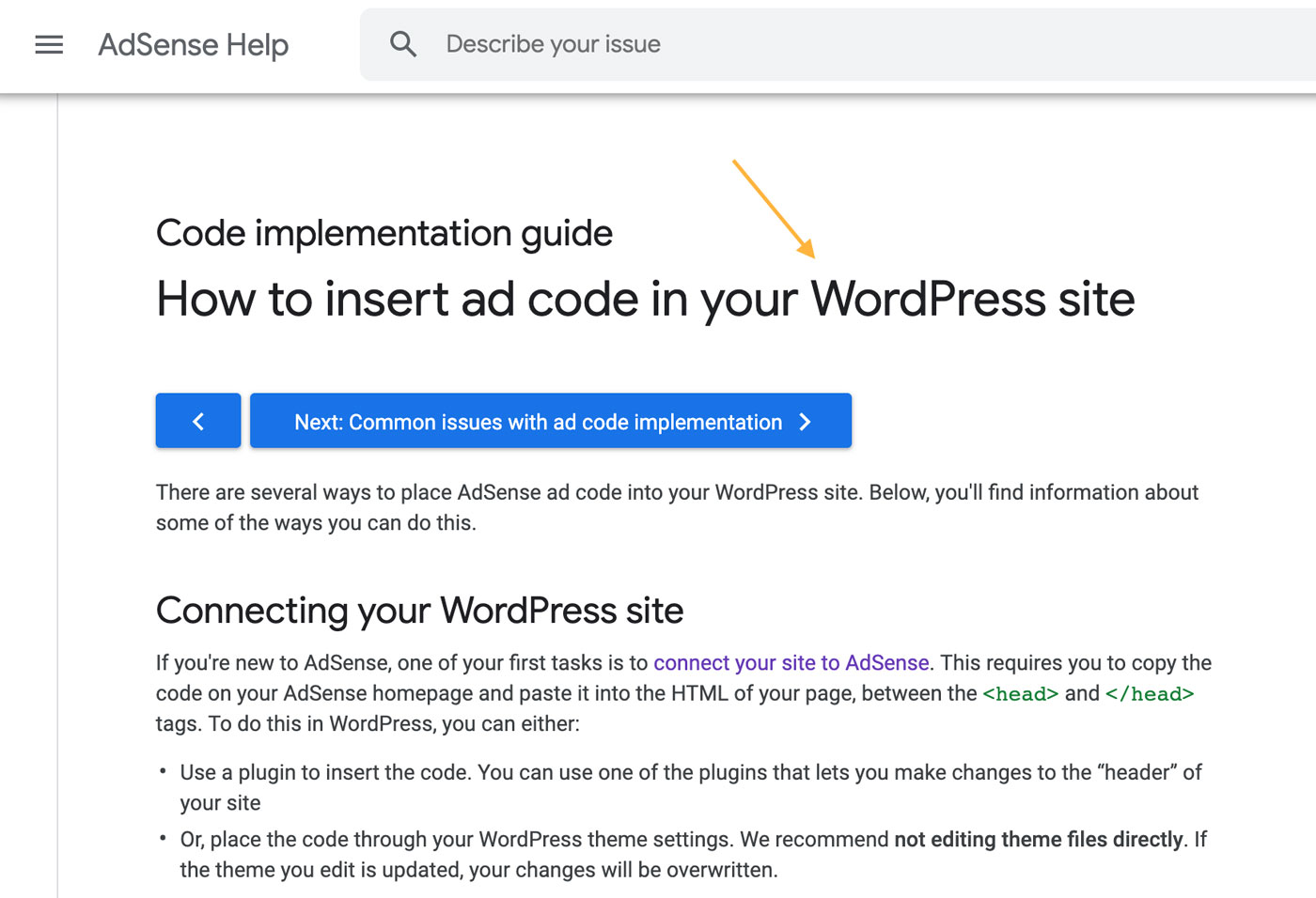 WordPress Google AdSense