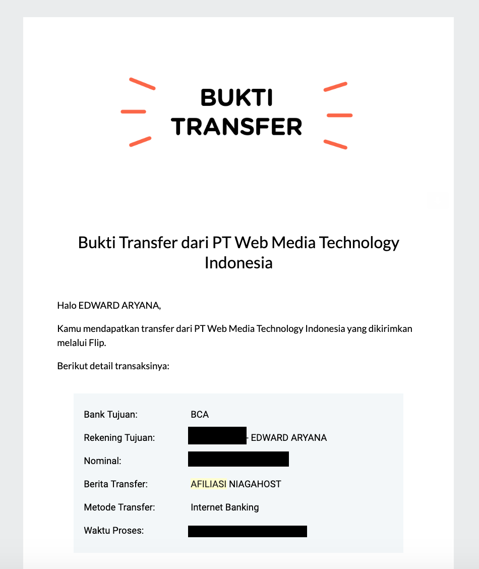 Proof of Payment | Bukti Transfer Niagahoster