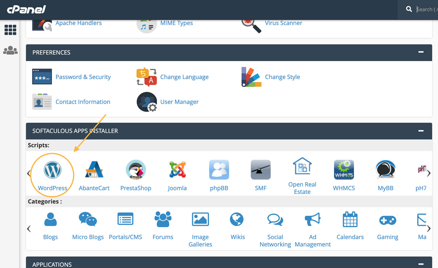 cPanel Look for One Click Install