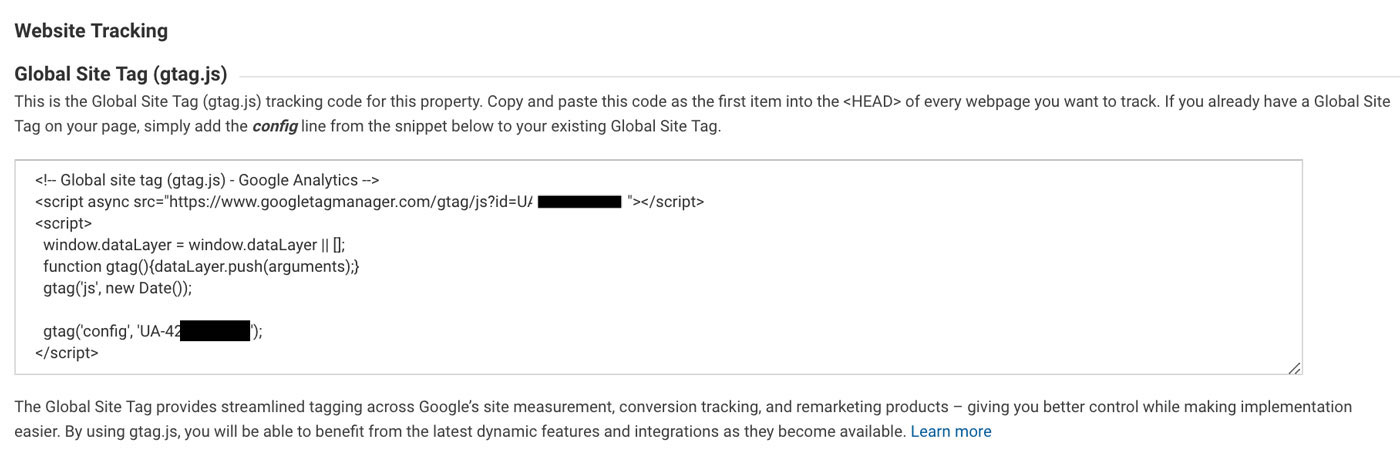 Google Analytics Tracking Code from Google's Dashboard