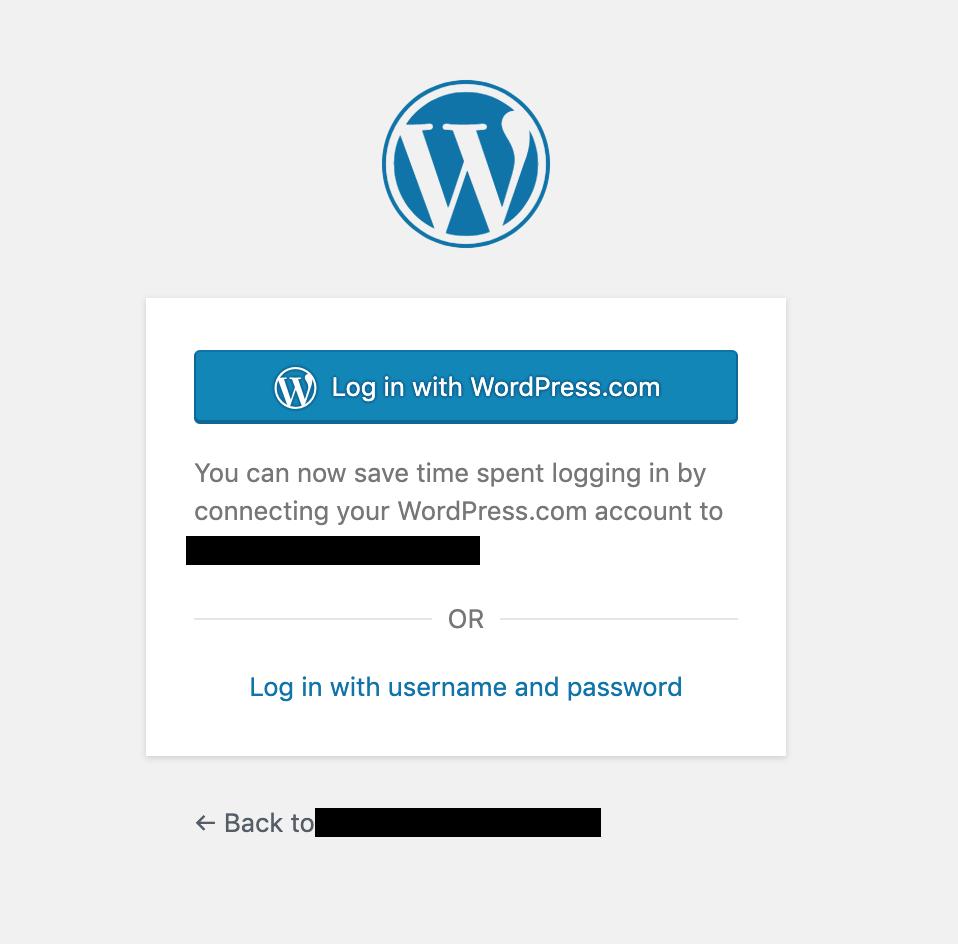 One Click login JetPack WordPress